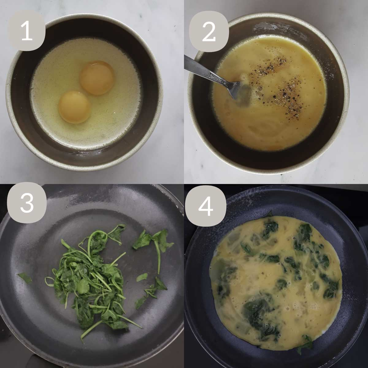a collage of steps showcasing beating eggs, wilting spinach and pouring eggs