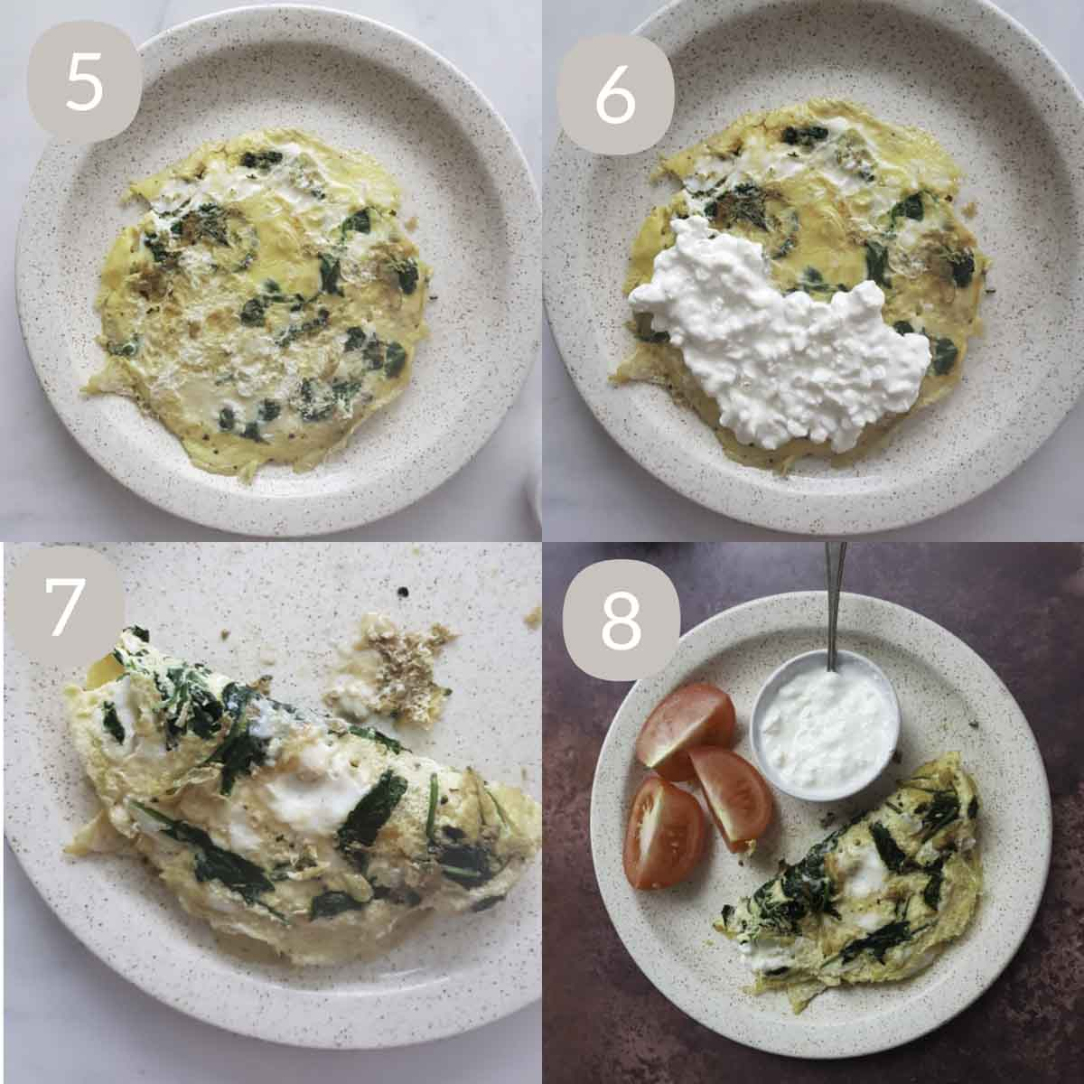 a collage of steps showing serving cottage cheese, spreading cottage cheese, folding omelette