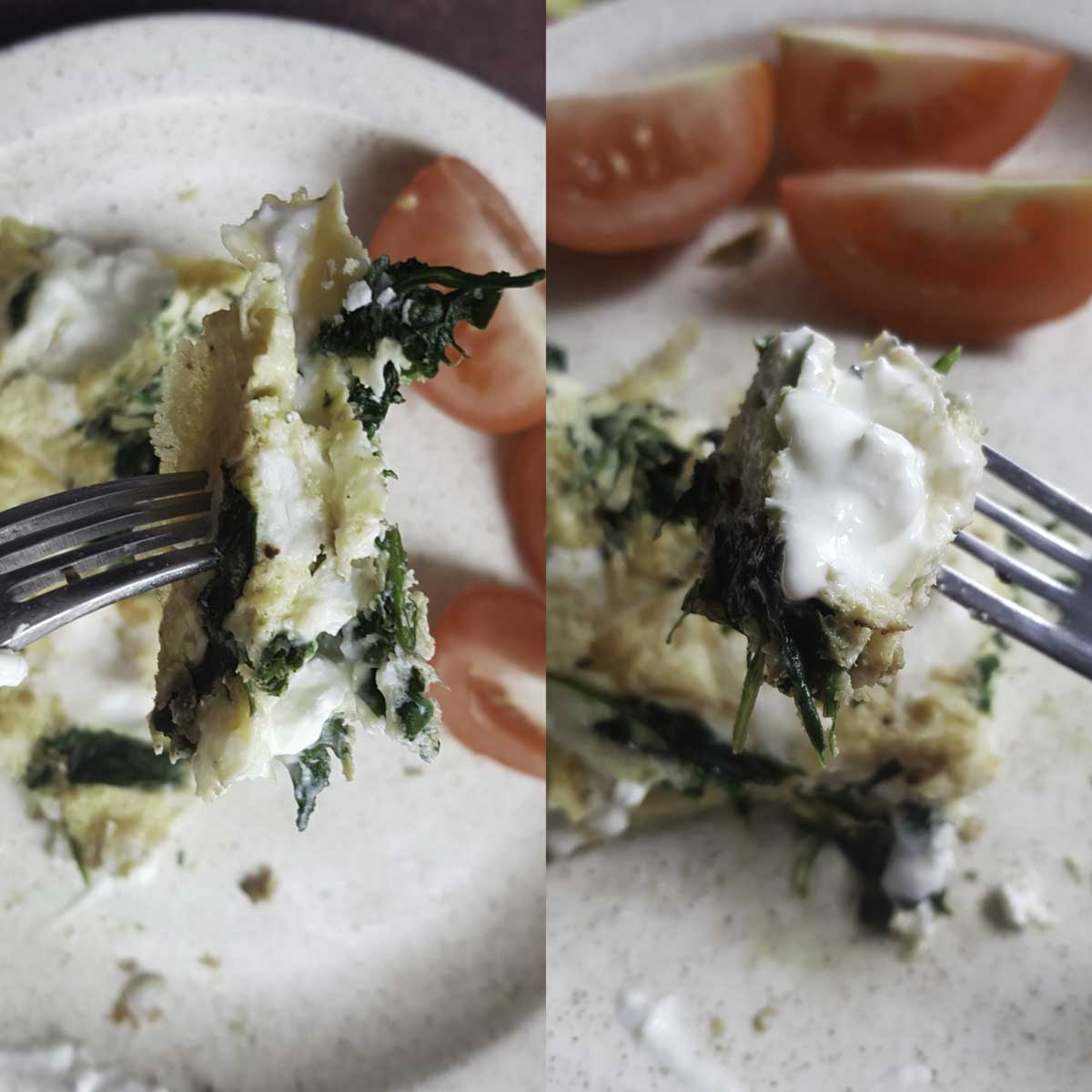 a collage showing a piece of cottage cheese omelette held with a fork