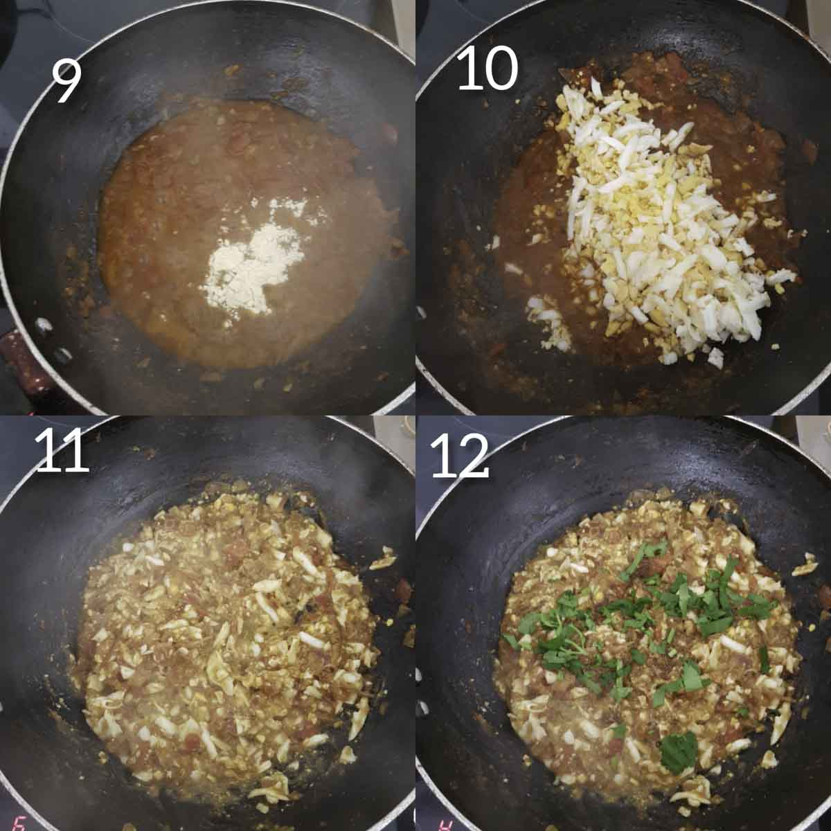 a collage of steps showing adding grated boiled egg to onion tomato mixture