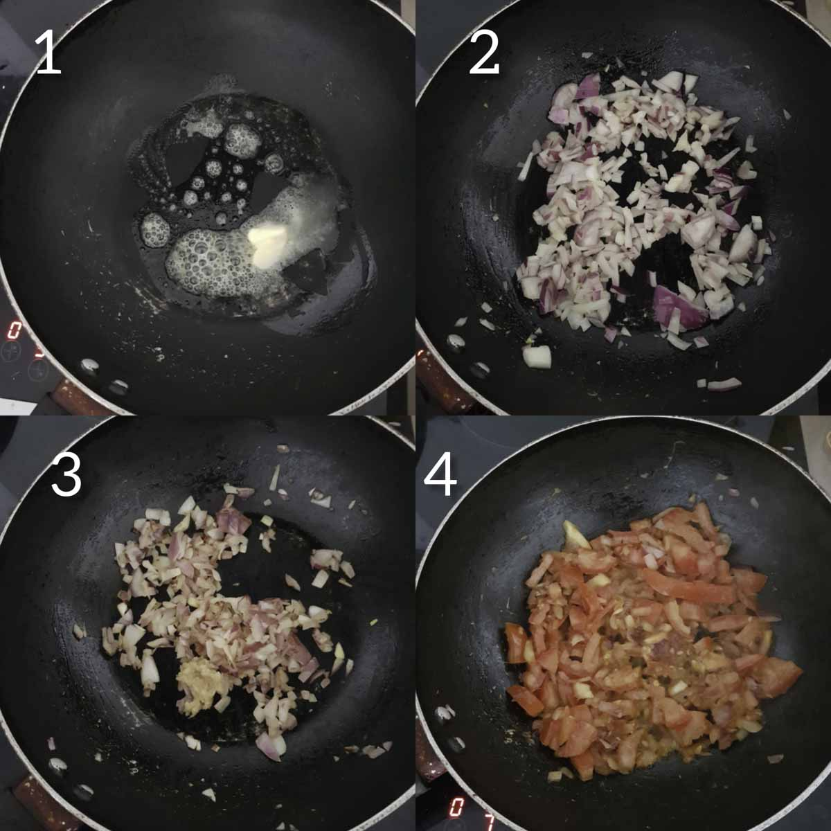 a collage of steps for cooking onions and tomato