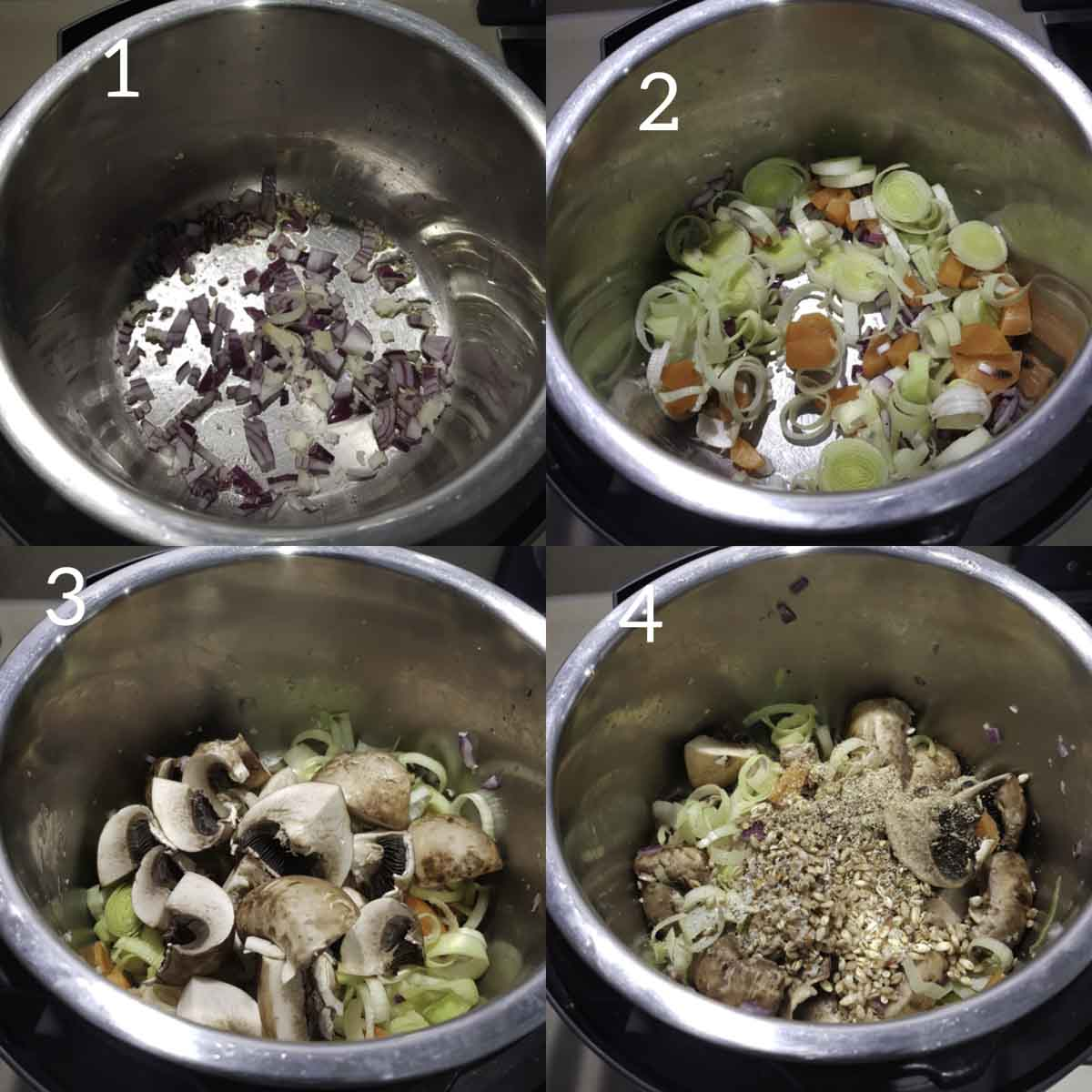 a collage of steps showing sautéing vegetables, adding barley and spices to instant pot