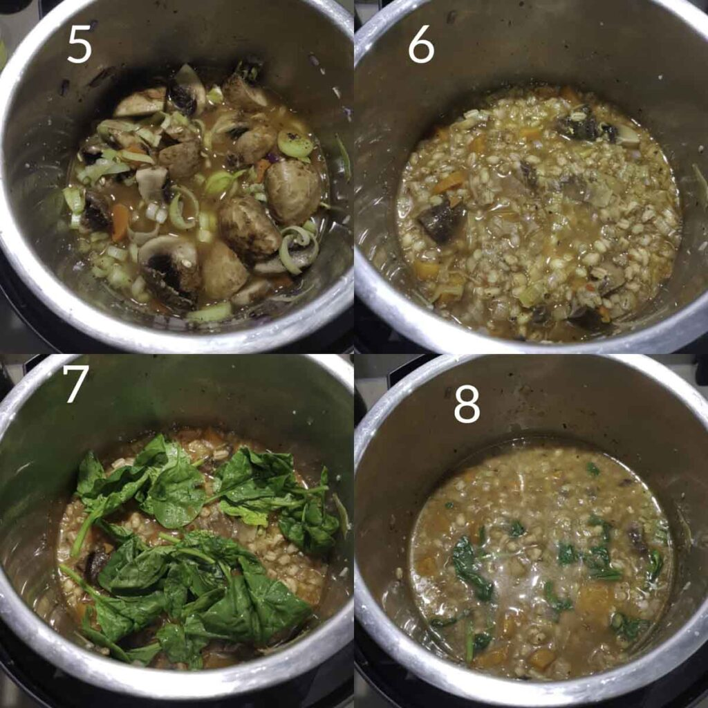 a collage of steps showing making barley soup in instant pot