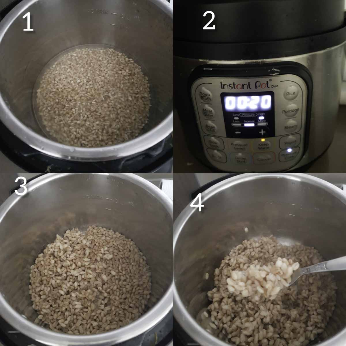 a collage of steps showcasing cooking pearl barley in instant pot
