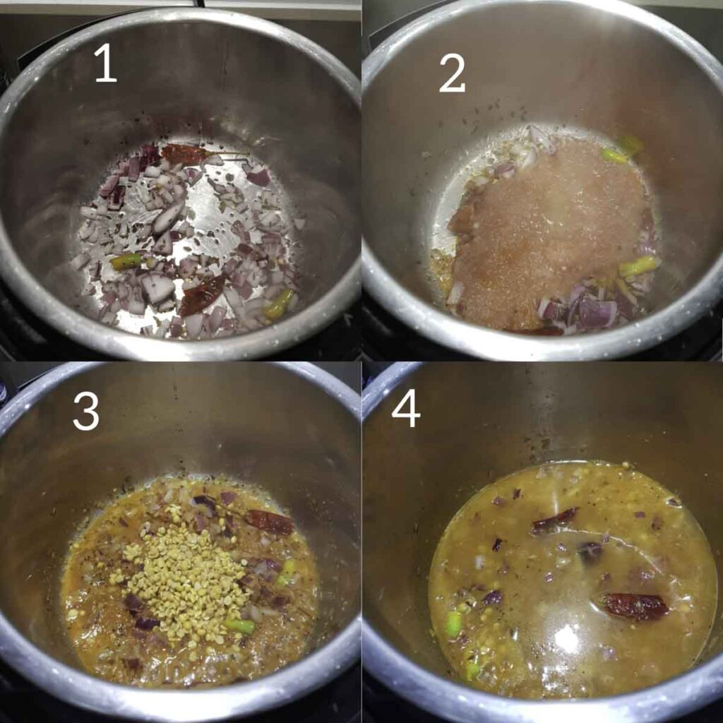 a collage of steps showing cooking onions, tomatoes and adding toor dal in instant pot