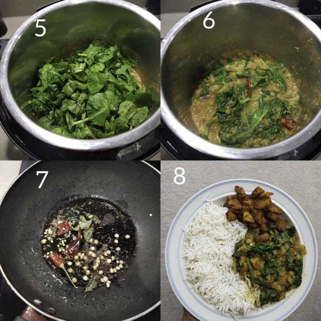 a collage of steps for adding spinach to cooked dal, tempering.