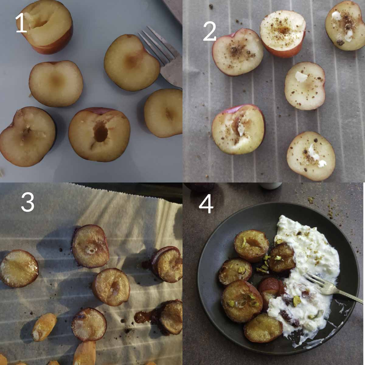 collage of steps showing cutting plums and  lining it on baking tray with sugar and butter on top