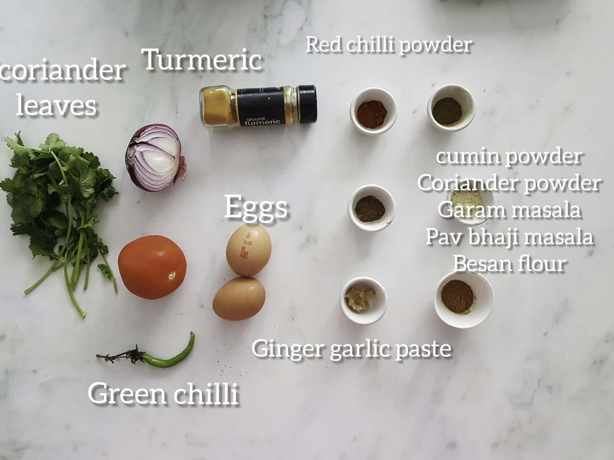 ingredients for egg keema masala,eggs, onion, tomato,chilli,ginger garlic paste,spices