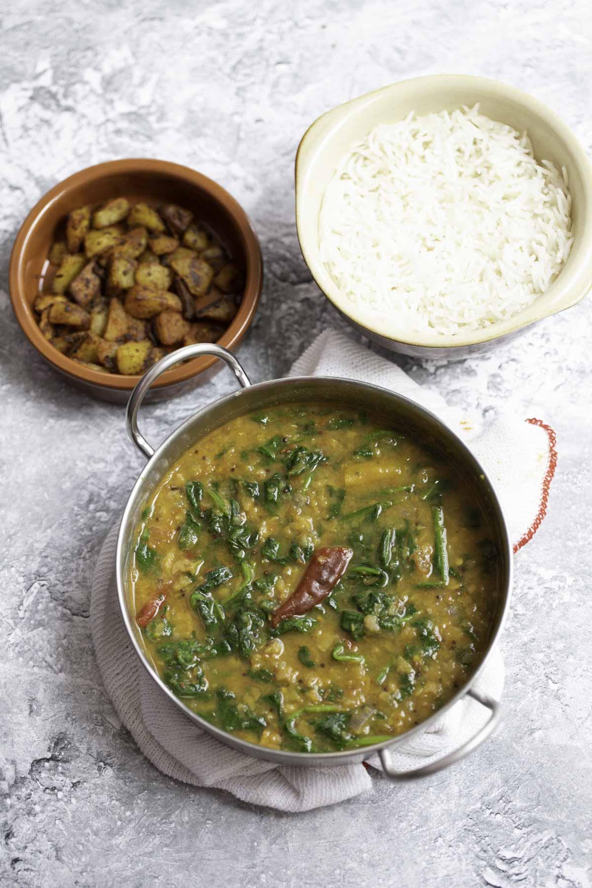 dal palak , basmathi rice and potato roast