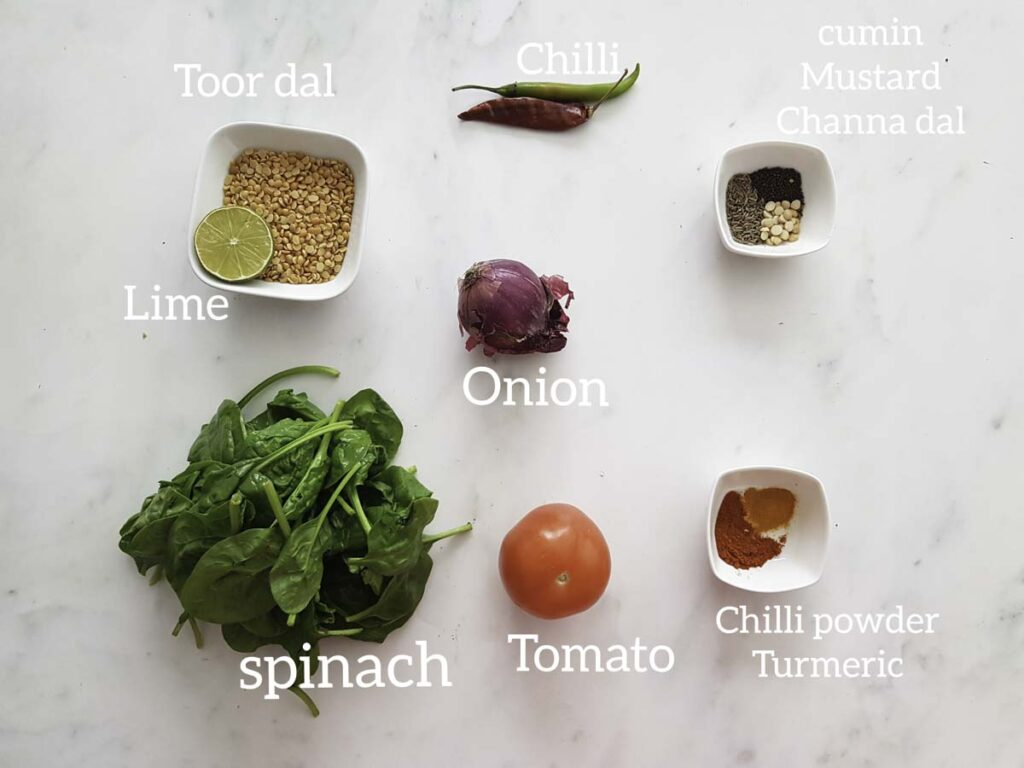 ingredients for making instant pot dal palak, spinach, veggies, spice,toor dal