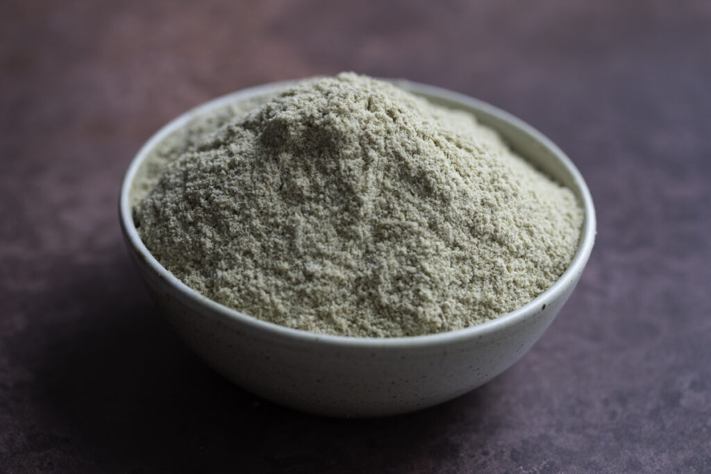 rice bran heaped in a white bowl