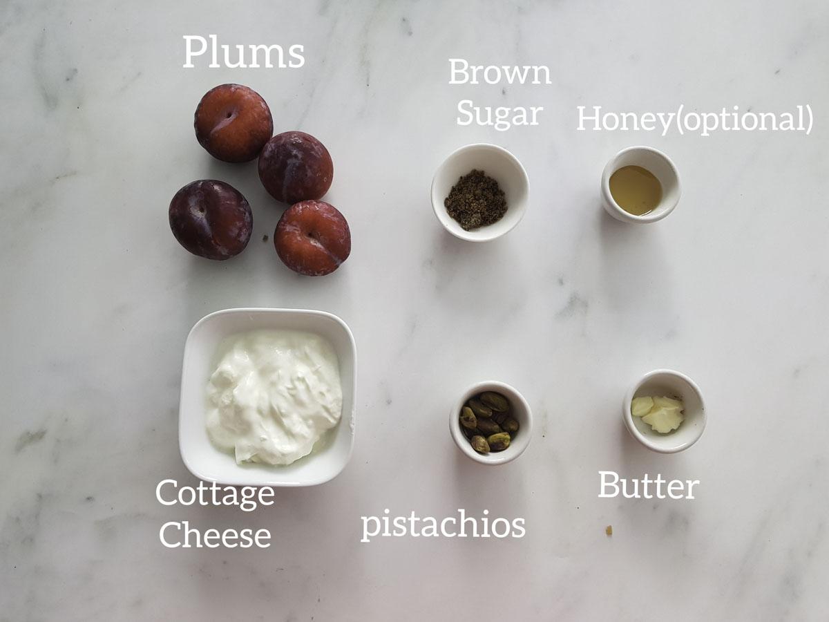 ingredients for roasting plums, plums, brown sugar, honey, butter, nuts
